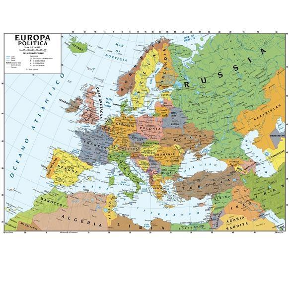 Cartina Spagna Politica Da Stampare.Deagostini Carta Murale Europa 140cm X 100cm