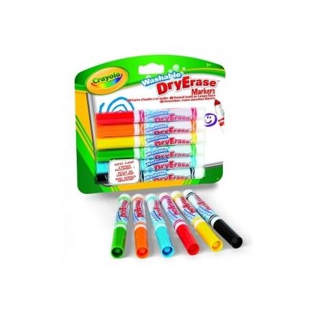 Crayola Washable - pennarelli 6 colori assortiti per lavagne bianche